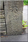 SE1437 : Benchmark on gatepost at entrance to #124 Otley Road by Roger Templeman