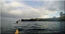 NZ3668 : Paddling round South Groyne, Tynemouth by Andy Waddington