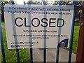 NZ2868 : Closure sign, Benton Quarry Park, Benton by Graham Robson