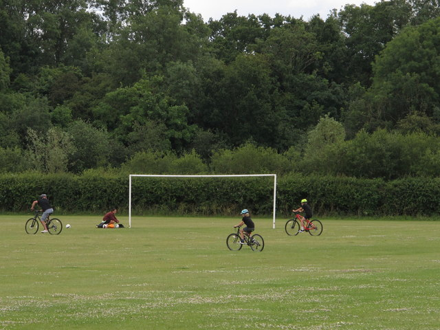 Family of cyclists, Hillingdon playing fields