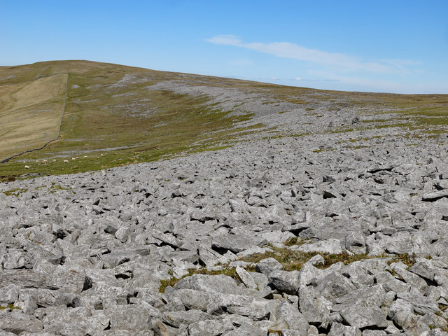 Long, curved area of stony ground south of Stony Rigg
