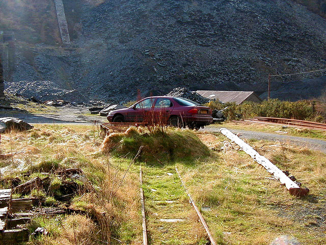 Quarry tram tracks at Aberllefenni
