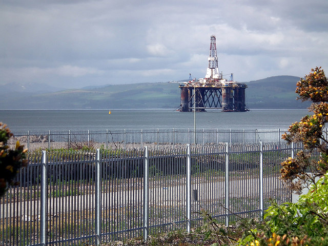 An oil rig in the Moray Firth at Invergordon