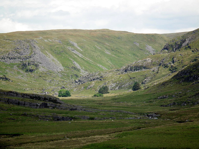 A long view towards the hidden valley of Cwm Gwerin