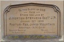 TQ5839 : Foundation stone, Tunbridge Wells United Reformed Church by N Chadwick