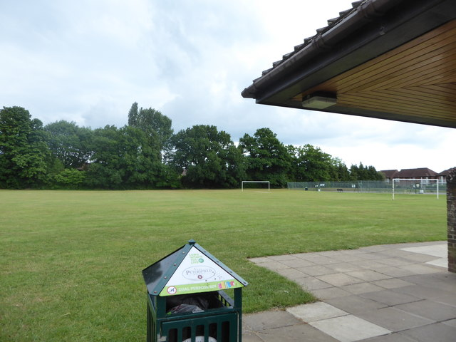 Looking from the new pavilion towards a football pitch at The Avenue