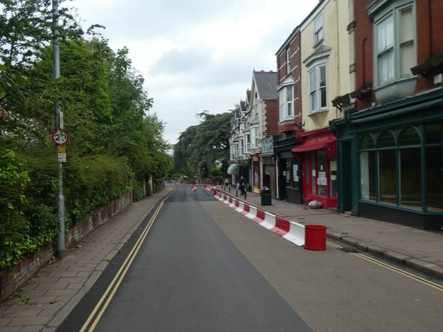 Pop-up barriers to create one way street, Magdalen Road, Exeter