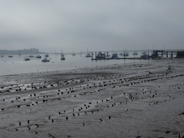 Starcross Sand, the Exe at low tide on a misty morning
