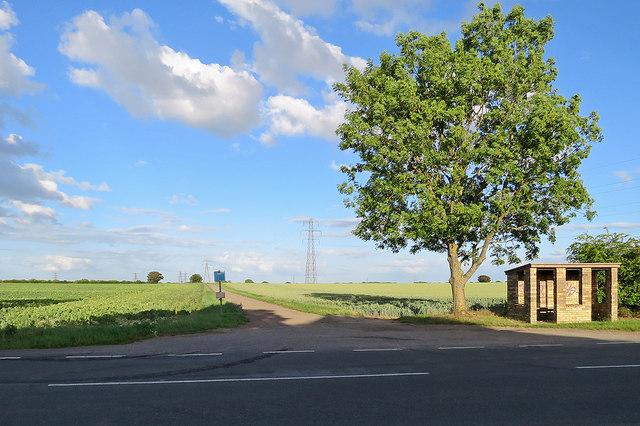 Bus stop at Low Fen Drove Way