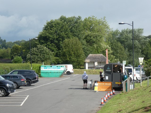 Car park at Starcross, with coffee stall in a converted horsebox