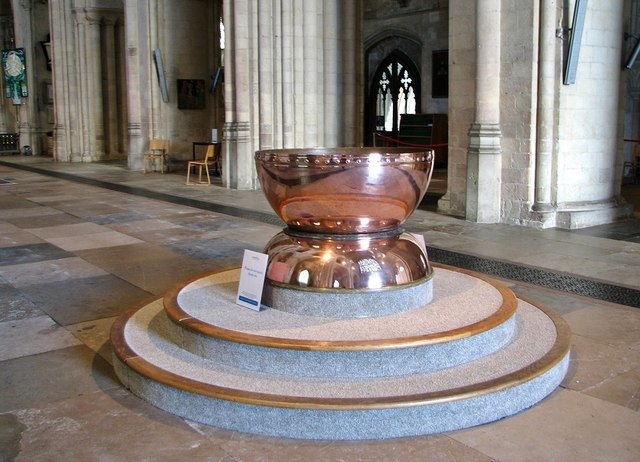 Modern baptismal font in Norwich Cathedral