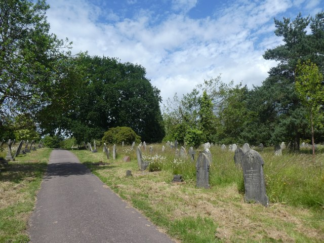 Gravestones and long grass, Exeter Higher Cemetery