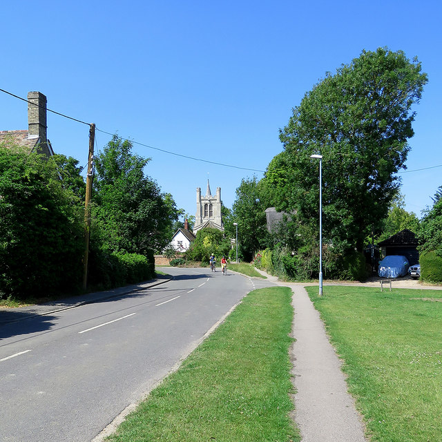 Haslingfield High Street and a view of the church
