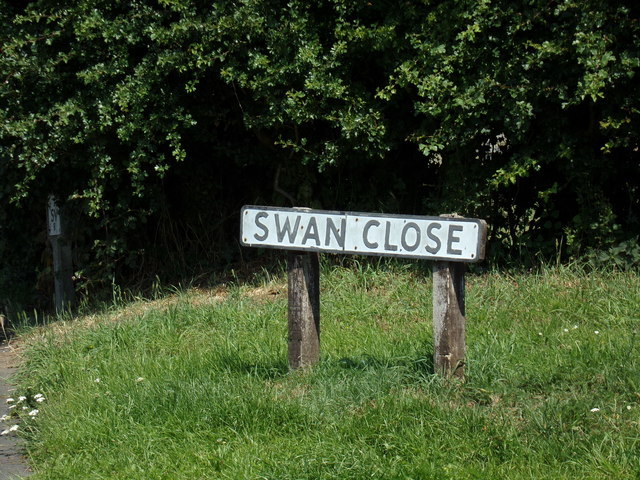Swan Close sign by Adrian Cable