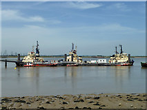 TQ6674 : Tugs moored off the PLA pier, Denton by Robin Webster