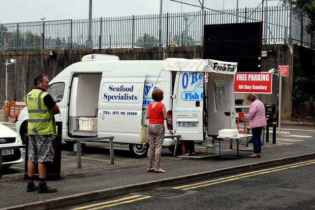 Social distancing queue at the fish van, Omagh