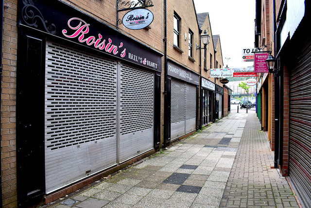 Shutters still down along Foundry Lane, Omagh