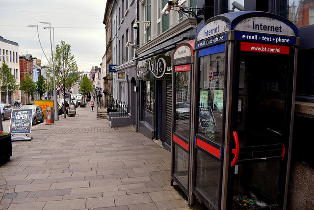 Internet phone boxes, High Street, Omagh