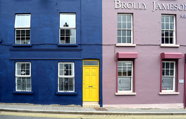 Building with yellow door, Omagh