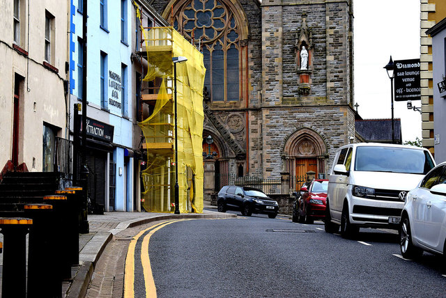 Scaffolding to premises, George's Street, Omagh