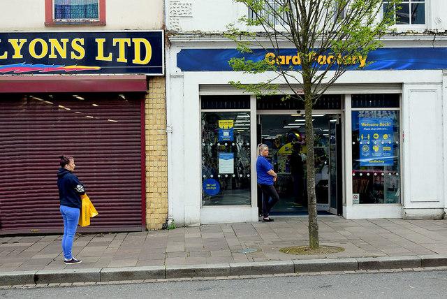 Social distancing queue, Card Factory, Omagh