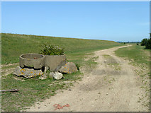TQ6974 : Track behind sea wall near Shornmead Fort by Robin Webster