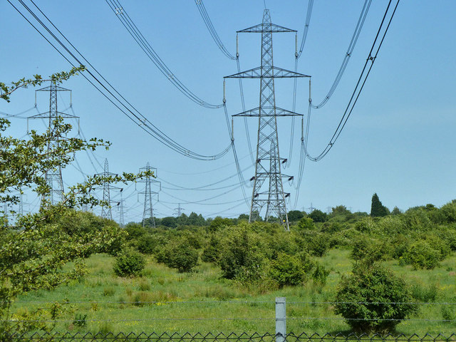 Power lines, Shorne Marshes