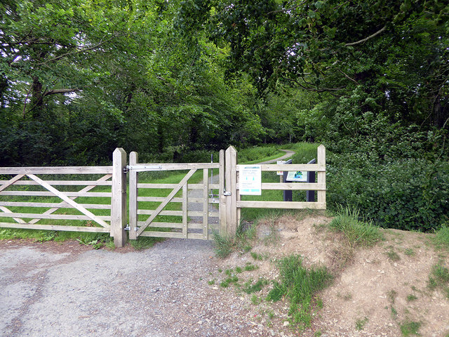 Gate at the entrance to Coed Gogerddan [wood]