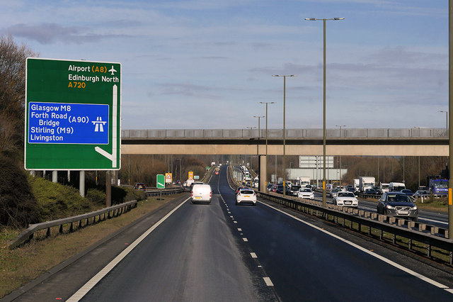 A720 City of Edinburgh Bypass approaching Hermiston Junction