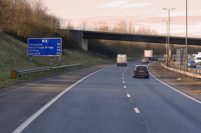 Westbound M8, Hermiston House Road Bridge