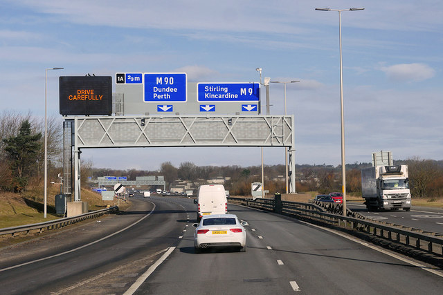 Sign Gantry over the M9 at Junction 1A