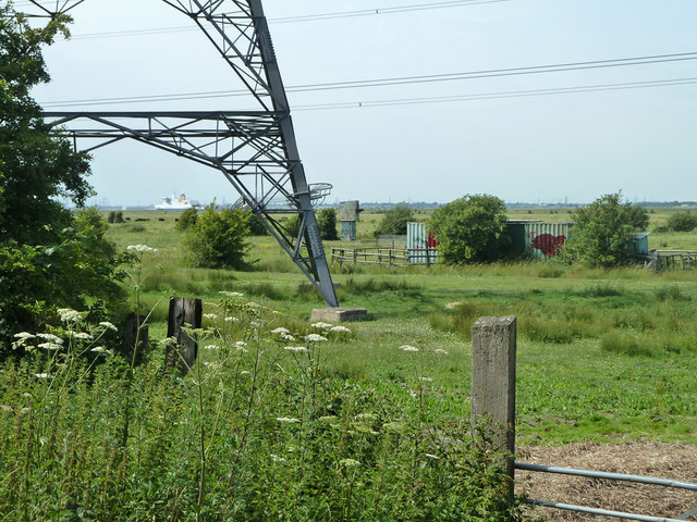 Fenced off containers and something else, Shorne Marshes