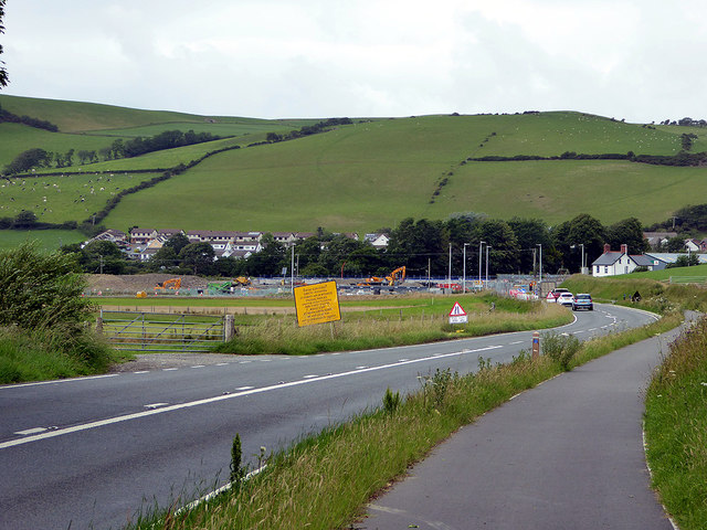 Approaching the road works at the Bow Street junction of the A487 and the A4159 roads