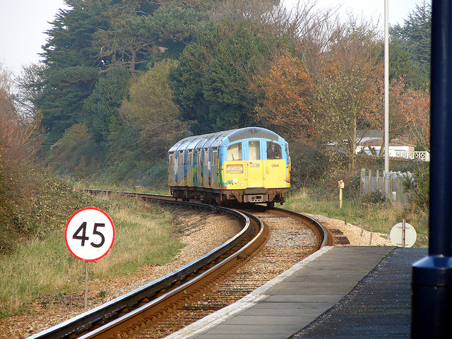 An 'Island Line' train approaching Shanklin station