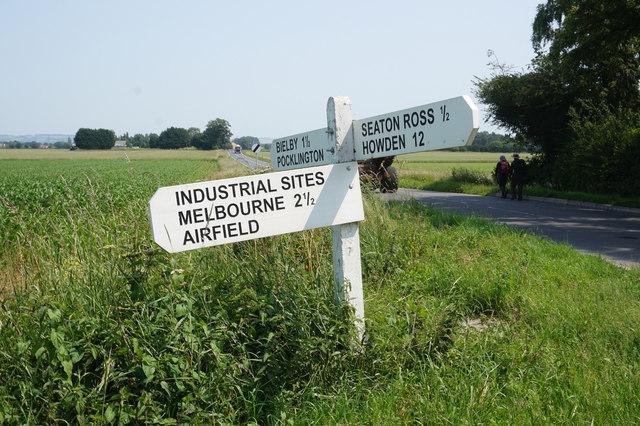 Road sign on Mill Lane, Seaton Common