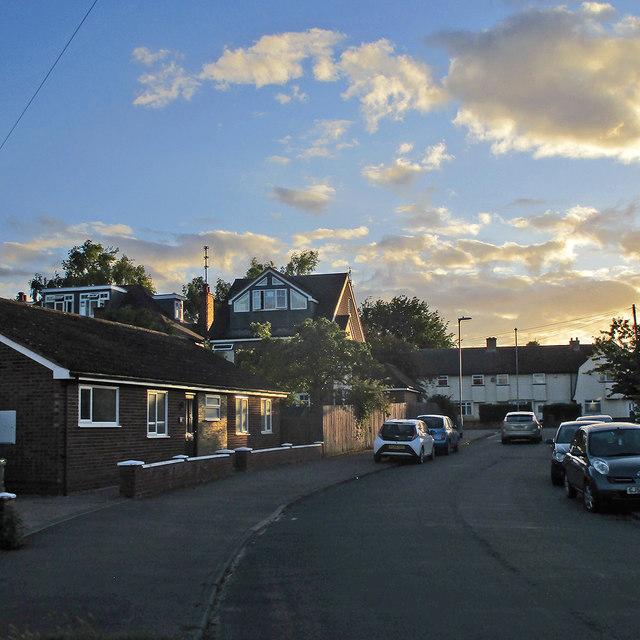 Lichfield Road: evening sunlight