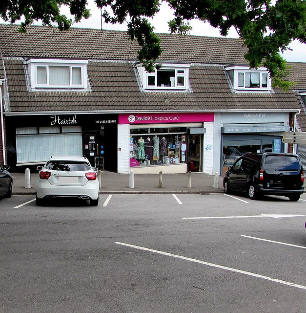 Recently reopened charity shop, Larch Grove, Malpas, Newport