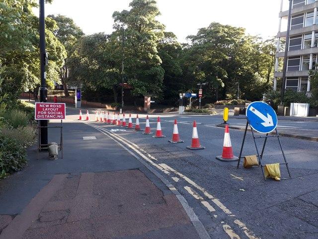 Social Distancing adjustments, Queen Victoria Road, Newcastle upon Tyne