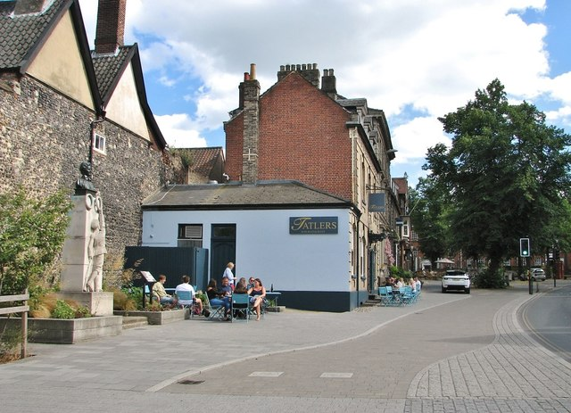 Outdoor seating area at Tatlers Restaurant on Tombland