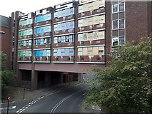 NZ2564 : Derelict building over Market Street, Newcastle upon Tyne by Graham Robson