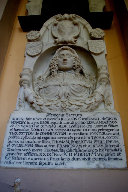 Memorial to Dame Alice Cotton in St Mary's Church