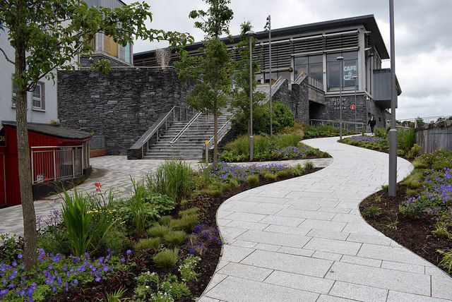 Winding path beside Strule Arts Centre, Omagh