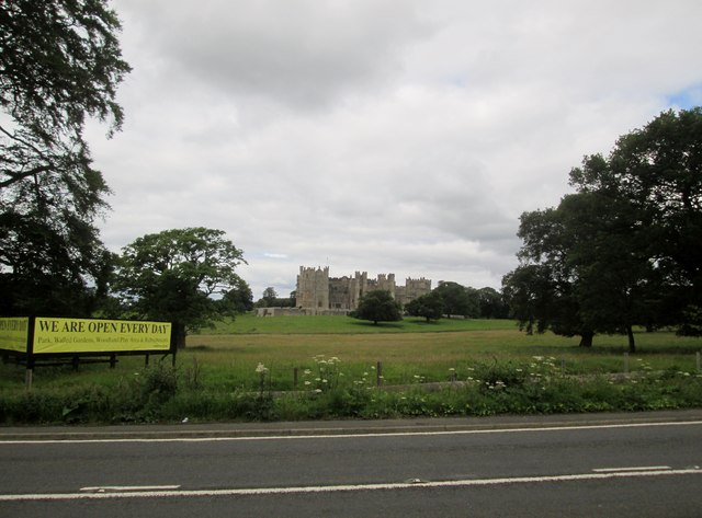 Raby  Castle  and  Park  Land  from  lay-by  on  A688