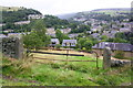 SD9926 : View over Hebden Bridge from track between Hebble End and Fairfield by Roger Templeman