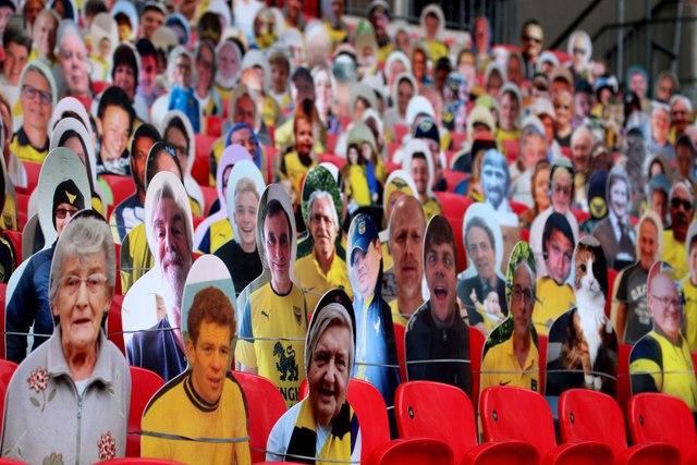 Cardboard fans in Wembley Stadium