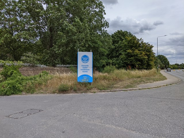 Darenth water treatment works entrance and Hawley Road