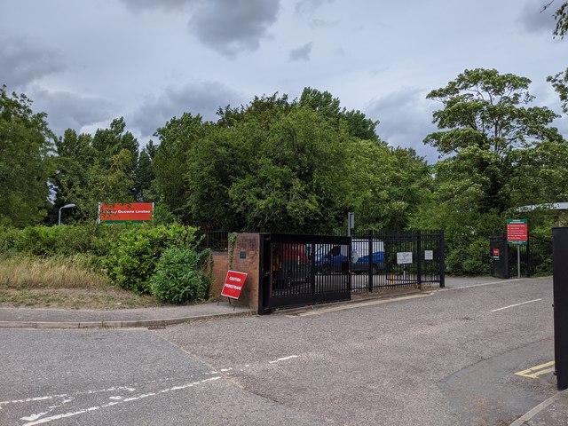 Entrance to Hawley Mill and Clancy Docwra site, Hawley Road