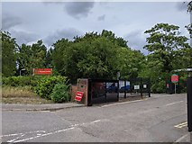 TQ5571 : Entrance to Hawley Mill and Clancy Docwra site, Hawley Road by Paul Williams