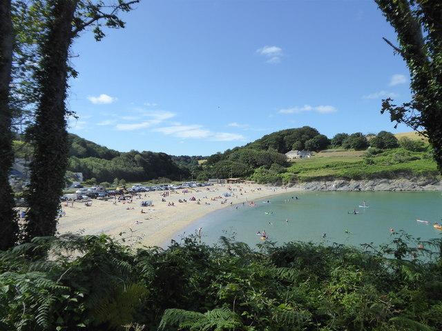 Maenporth beach seen from the coastal path