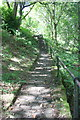 SD9827 : Paved woodland path with steps to Heptonstall Road by Luke Shaw